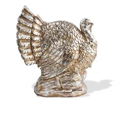 """New 9""""H Antique Silver Resin TURKEY Figurine Centerpiece w/ Pumpkins #KK"""