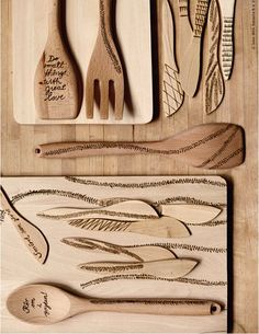 IKEA Hacks and DIY Hack Ideas for Furniture Projects  and Home Decor from IKEA -  IKEA Hack Wood Etched Utensils   - Creative IKEA Hack Tutorials for DIY Platform Bed, Desk, Vanity, Dresser, Coffee Table, Storage and Kitchen Decor http://diyjoy.com/diy-ikea-hacks
