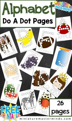 26 free printable preschool do a dot letter alphabet word and image pictures for fine motor skill building.