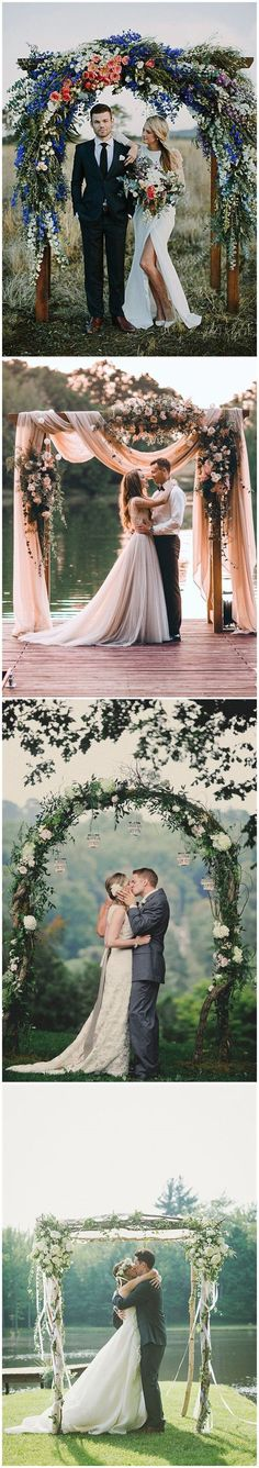 Rustic Weddings » 20 DIY Floral Wedding Arch Decoration Ideas »   ❤️ See more:  http://www.weddinginclude.com/2017/03/diy-floral-wedding-arch-decoration-ideas/