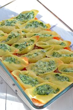 gevulde pastaschelpen | pasta with spinach and ricotta #pasta #shells #healthy #food