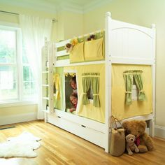 bunk bed idea - like the hanging storage from top bunk and the idea of using fabric to make a fort on the bottom bunk