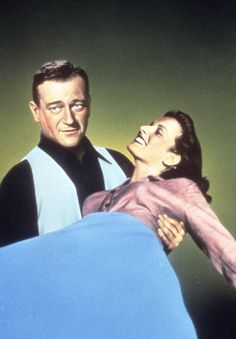 Maureen O'Hara with John Wayne in The Quiet Man, one of her most famous roles...