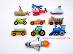 VEHICLES FOR KIDS - FELT MAGNETS - FRIDGE MAGNETS