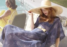 Cecile wearing classic long kaftan and suede scarf belt with Ascher scarf Scarf Belt, Long Kaftan, Kaftans, Panama Hat, Hats, Classic, How To Wear, Leather, Dresses