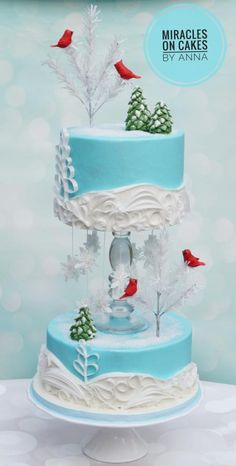 My winter theme cake with Wafer paper art. I love the sight of fresh snow on the ground, the pure air around and the feeling gives me joy. I always wanted to do a simple design like this just snow and my favourite Cardinal birds. Christmas Cakes, Christmas Treats, Cake Cookies, Cupcake Cakes, Cupcakes, Wedding Cake Designs, Wedding Cakes, Wafer Paper, Just Cakes