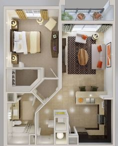20 one-bedroom apartment plans for singles and couples - . - 20 one-bedroom apartment plans for singles and couples – # Apartment plans - Tiny Spaces, Small Apartments, Small Apartment Plans, Small Apartment Layout, 1 Bedroom Apartments, Single Apartment, Garage Apartment Interior, Garage Apartments, Bedroom Layouts For Small Rooms
