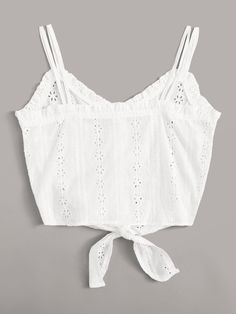 Top de tirante bajo con nudo con bordado con ojal   ROMWE Short Shirts, Cami Tops, Summer Tops, Outfit Sets, Summer Outfits, Camisole Top, White Dress, My Style, Biscuit