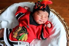 Hopefully this little fan wakes up in time for the game! #Blackhawks
