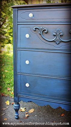 Salvaged Dresser Makeover using dark stain and rich, blue paint
