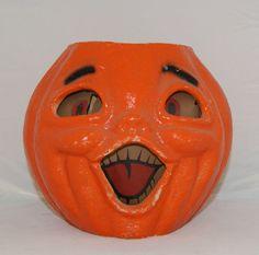 Have this exact JOL in my collection!  One of my first vintage Halloweenies!   VINTAGE-HALLOWEEN-PAPER-MACHE-PUMPKIN