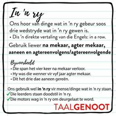 In 'n ry Afrikaans Language, Grammar Games, Afrikaanse Quotes, Wedding Humor, Animal Design, Travel Quotes, Success Quotes, Lesson Plans, Tattoo Quotes