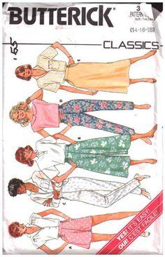 Butterick Sewing Pattern 3710 Misses' Shorts, Pants, Skirt, Culottes  Size: 14-16-18  Uncut