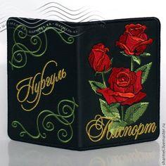 """Купить Обложка для паспорта ИМЕННАЯ вышитая """"Алые розы"""" - обложка на паспорт…"""