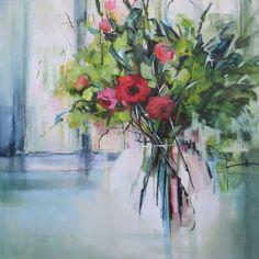 Roses in Window - 106x106cm