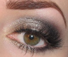 Gold, Champagne and Black Eye makeup Tutorial for green eyes