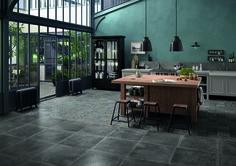 Dust is a porcelain tile made to look like reclaimed limestone or cement tiles. Porcelain tiles work great in bathroom, kitchen or any living spaces. Portobello, Kitchen Tiles, Kitchen Decor, Style Tile, Black Decor, Tile Floor, Flooring, Interior Design, Outdoor Decor