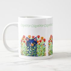 large mug with painting of blue cat and red tulips - red gifts color style cyo diy personalize unique