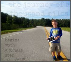 take a picture in a meaningful spot and then match it to a great quote! ... for first day of school or milestone.  (this is C.J.'s first day of kindergarten picture... on the road that leads to his school)