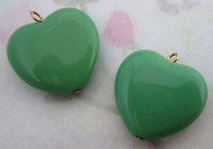 Czech green glass heart bead charms 21x18mm - f2800
