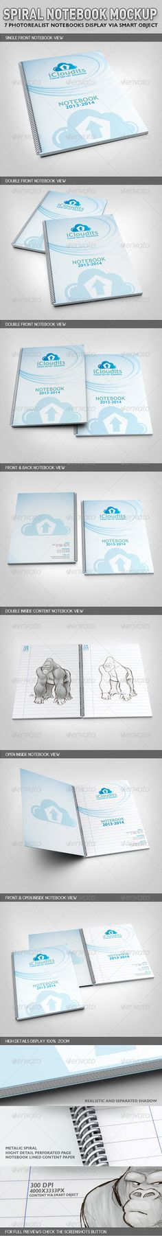Spiral Notebook Mock-Up  #3d #book #graphic • Available here → http://graphicriver.net/item/spiral-notebook-mockup/2941379?s_rank=1414&ref=pxcr