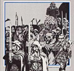 Dwarven funeral procession. (Jim Holloway, Dragon magazine No. 129, January 1988.)