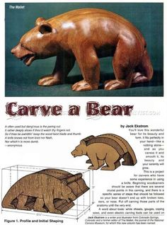 Whittling Patterns and Carving Bear - Wood Carving Patterns - Wood Carving Whittling Patterns, Whittling Projects, Whittling Wood, Wood Projects, Furniture Projects, Furniture Design, Simple Wood Carving, Dremel Wood Carving, Wood Carving Art
