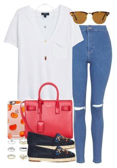 """""""Untitled #3167"""" by hellomissapple on Polyvore featuring Topshop, MANGO, Casetify, Yves Saint Laurent, Giuseppe Zanotti and Ray-Ban"""