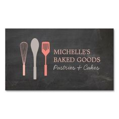 WHISK SPOON SPATULA LOGO Bakery Business Card Template - Ready to customize and order. Great for bakeries, home-made baked goods, cafes, personal chefs, food delivery and more. Bakery Business Cards, Catering Business, Simple Business Cards, Custom Business Cards, Dessert Logo, Arts Bakery, Opening A Bakery, Name Card Design, Bakery Logo
