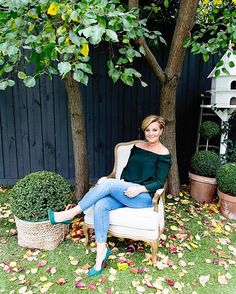 The lovely @chykak sitting pretty on our French Linen Armchair.