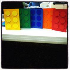 Lego invitations - Scrapbook paper & foam stickers are all you need