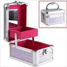 Golden & Silver Bling-Bling Sequin Checks Patterned Dual Tray Mirror Aluminum Jewelry Dressing Case Box with Key Lock