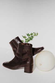 A wardrobe essential low-heeled vegan ankle boot. Handmade fairly in Spain.