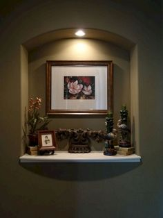 21 Lovely Diy Niche Decor Entryway Ideas For Your Home - New Deko Sites Décor Niche, Niche Decor, Room Decor, Alcove Decor, Niche Design, Wall Design, House Design, Foyer Decorating, Tuscan Decorating