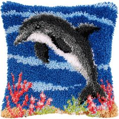 Dolphin Latch Hook Cushion