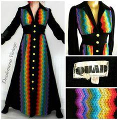 Vintage 1970s QUAD Maxi dress RAINBOW CHEVRON pointy collar long black 70s