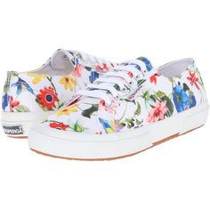Superga 2750 Fanrasow (White Multi) Women's Lace up casual Shoes ($45) ❤ liked on Polyvore featuring shoes, sneakers, white, floral print shoes, floral print sneakers, white lace up shoes, white trainers and white shoes