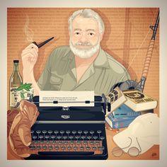 Ernest Hemingway - Life Behind Words #illustration #digitalart #digitalillustration #ilustracao #ernesthemingway #hemingway #thesunalsorises #tohaveandhavenot #theoldmanandthesea #afarewelltoarms #fishing #rum #mojito #typewriter #books #literature #boxe #baseballcap #marceloalmeida #marceloalmeidaillustrations