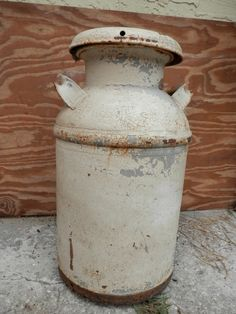 antique metal milk can    ,. $60
