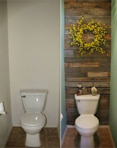 Pallet wall ideas for small bathroom - Country Outhouse Bathroom Decor Ideas Bathroom Country Outhouse Bathroom Decorating Ideas Toilet Room Decor, Small Toilet Room, Small Toilet Decor, Guest Toilet, Outhouse Bathroom Decor, Wood Bathroom, Bathroom Ideas, Bathroom Shelves, Brown Bathroom