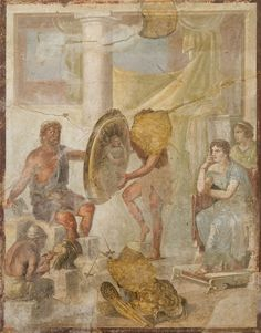 Hephaestus was worshiped in all the cities of Greece where they were craft activities, but especially in Athens. Teti waiting arms of Achilles in the forge of Hephaestus - Fresco Roman house in Pompeii Triclinio - Archaeological Museum - Naples Ancient Rome, Ancient Art, Ancient History, Henri Rousseau, Classical Mythology, Classical Art, History Encyclopedia, Pompeii And Herculaneum, Roman Art