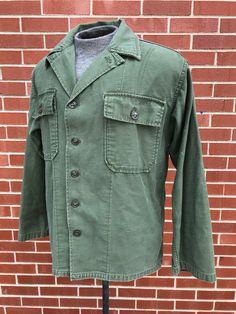 Original Vintage 1960s 60s Vietnam War US Army US Military OG107 Type I  Type 1 First Pattern Shirt Fatigue Shirt OD Green Hippie Retro 1970s 2a7ec6952