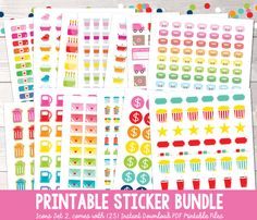 Instant Download Printable Planner Stickers Bundle - Functional Icons Set Two Download, print, cut & plan! Our printable stickers offer an affordable way to