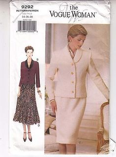 VOGUE 9292 Jacket Skirt Loose Fit Flared Sewing Pattern Sizes 14-16-18 Uncut