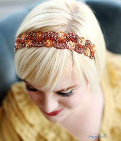 Beaded Headband  Burnt Orange Red Gold Metallic by bethanylorelle, $29.50
