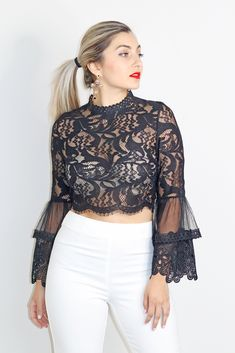 Ruffles design mock neck floral lace blouse bluzki w 2019 же Look Fashion, Trendy Fashion, Fashion Outfits, Blouse Styles, Blouse Designs, Sleeves Designs For Dresses, Blazers, Indian Designer Wear, Trendy Tops