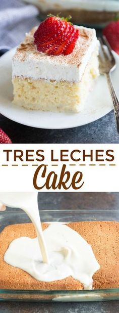 The BEST authentic homemade Tres Leches Cake. An ultra light cake soaked in a sweet milk mixture and topped with fresh whipped cream and cinnamon. This simple Mexican dessert is one of our favorites! tastesbetterfromscratch.com