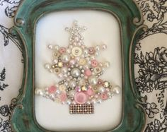 Christmas Tree made with vintage and new jewelry,pearls and buttons .