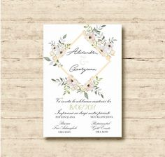 Modern Floral Wedding Invitations.  Also as Printable