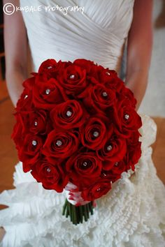 Love it!  Red Rose Wedding Bouquet accented with sparkling crystals